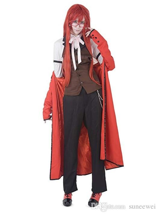 Black Butler Grell Sutcliff Costume Cosplay Long Manteau avec des lunettes
