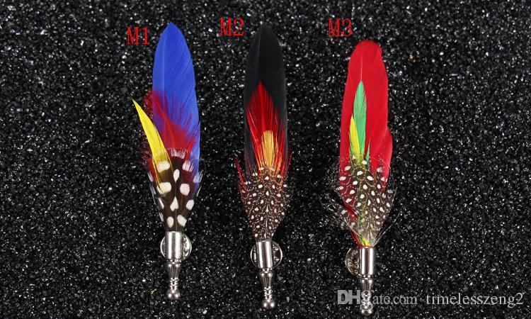Broche de plumas del banquete de boda compere plumas hombres traje pines 6 colores partido collar de solapa envío gratis