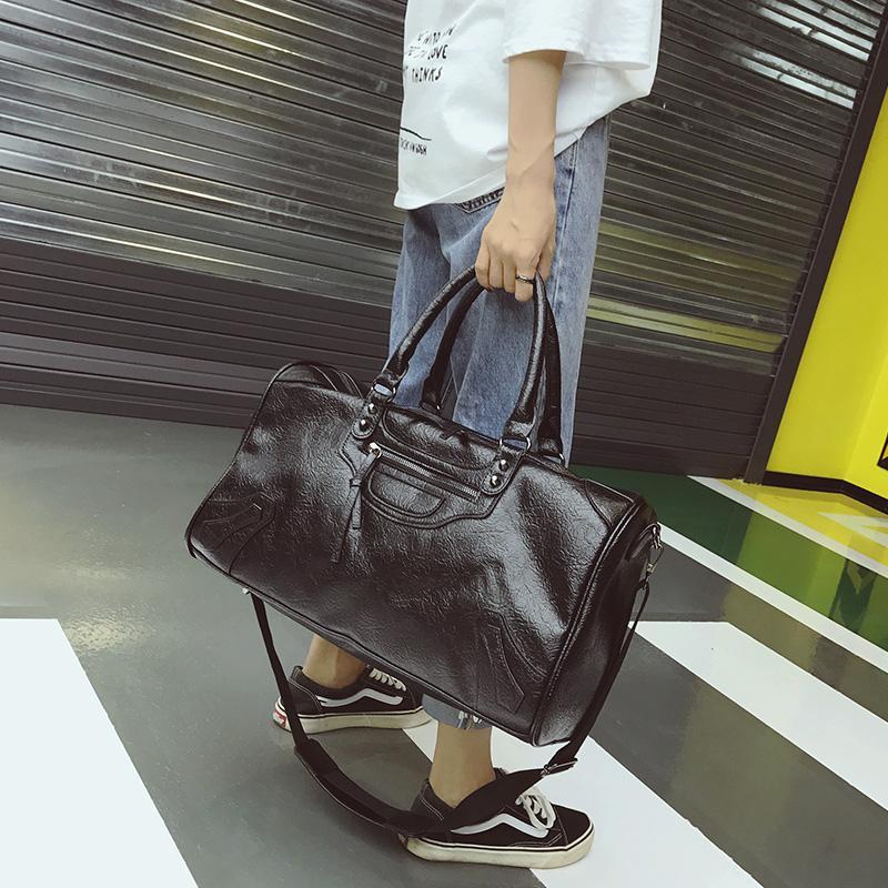 جديد وصول أزياء بو الجلود حقيبة السفر الرجال النساء حقائب سعة كبيرة كبيرة حقائب الكتف ذكر كبير القماش الخشن حقيبة للجنسين بولسا