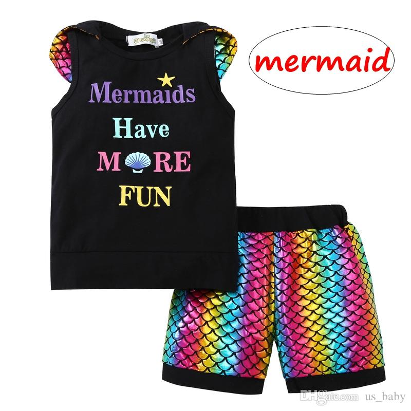 "Girl Mermaid 2pcs outfit Kids girl ""have more fun"" maglietta stampata + pantaloncini Set Toddler Clothing Sets per 0-4t"