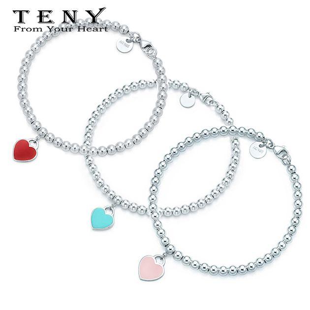 TENY أزياء سحر 100 ٪ فضة جودة عالية الحب القلب علامة مفتاح الإسورة سوار للنساء مجوهرات البريد المجاني