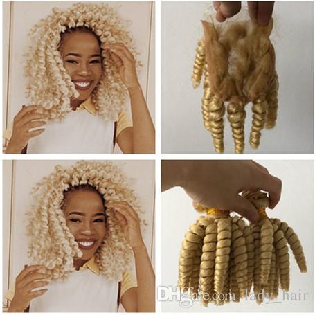 #613 блондинка перуанский тетушка Фунми человеческих волос ткет с закрытием романтика локон отбеливатель блондинка 4x4 кружева перед закрытием с 3 пучками сделок