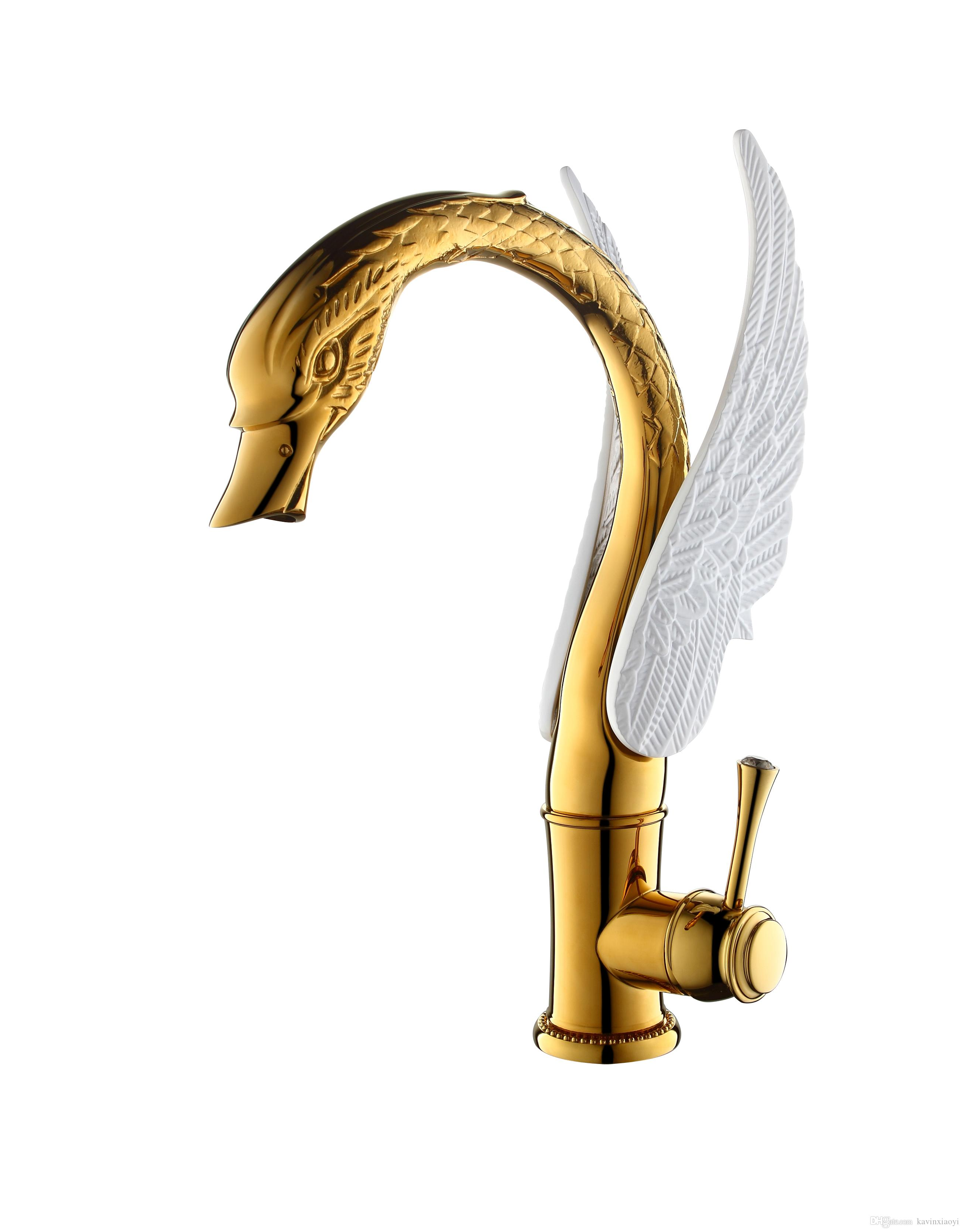 GOLD +White color bathroom basin vessel sink swan tall mixer faucet crystal handle deck mounted single hole
