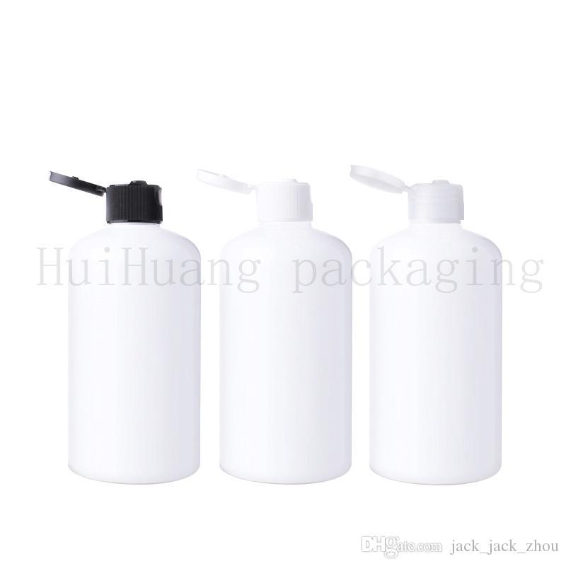 20 adet / grup Boş Ile Doldurulabilir Amber beyaz Pet Şişe Kapak Üst Kap 250 ML PET Şampuan Şişesi 250 ml beyaz Plastik Konteyner