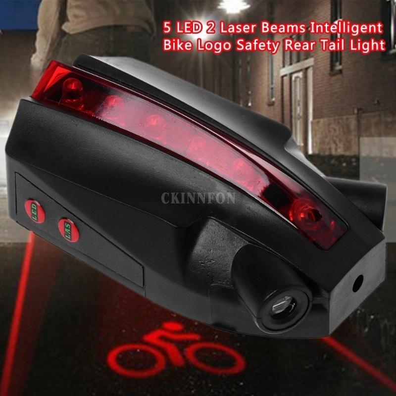 2Laser+5LED Durable Rear Bike Bicycle Tail Light Beam Safety Warning Red Lamp UK
