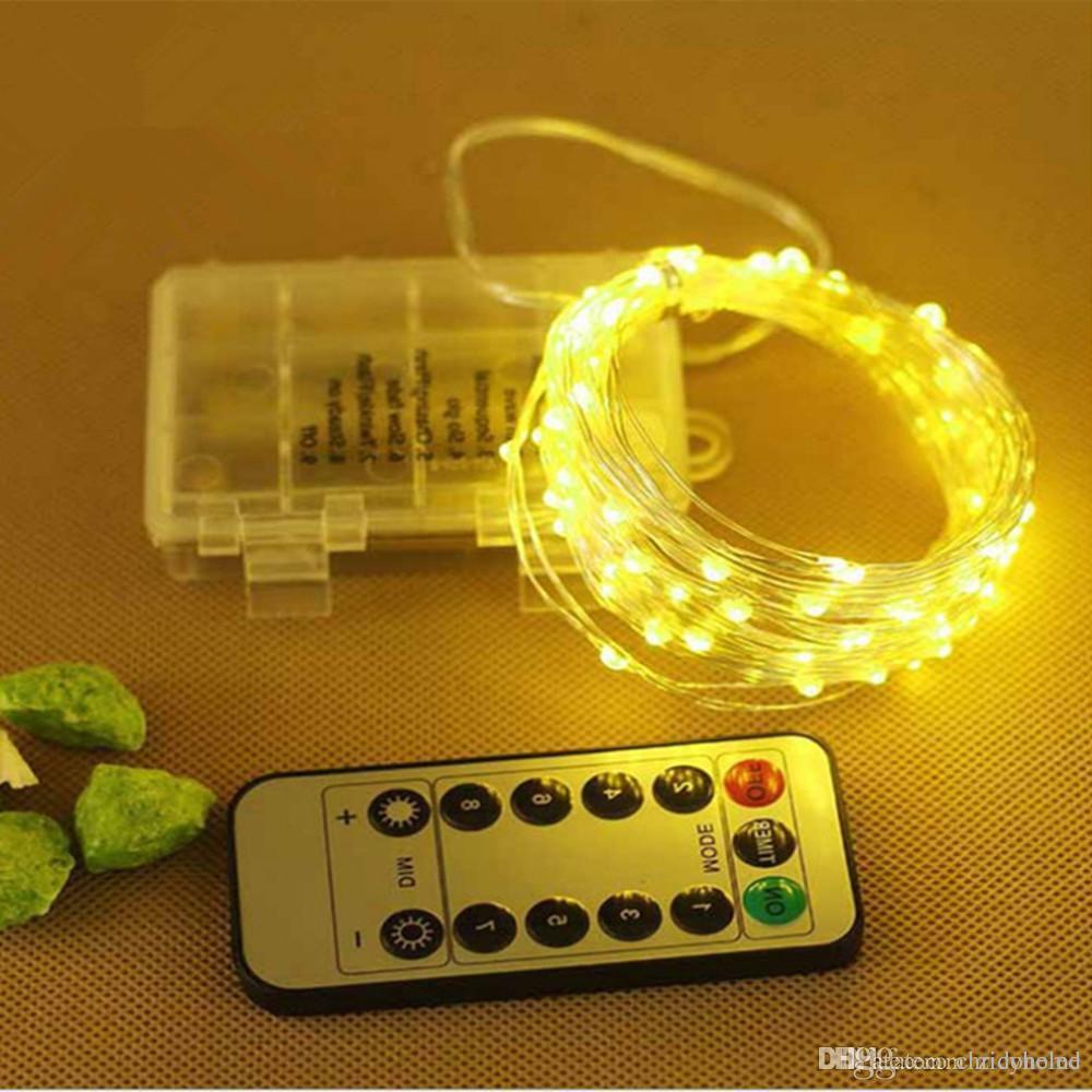 10M / 33ft 100LED Luz de cadena Cobre Alambre de plata Luces de guirnalda de hadas con 8 modos Control remoto Alimentado por batería Impermeable para vacaciones