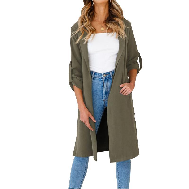 Jaquetas Femininas 2021 Chegadas Mulheres Cool Exército Verde Long Open Stitch Casaco Senhoras Ternos Windbreaker Jacket