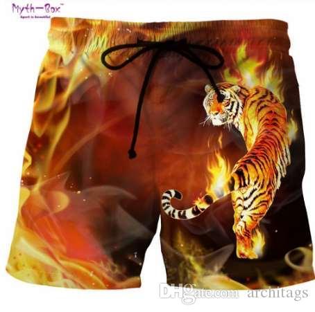 Summer Man's Beach Shorts Swim Sports S-6XL Pantalones Fire Tiger / Lion 3D Print Surf Shorts Talla grande Hombre Gym Surf Board Swimsuit