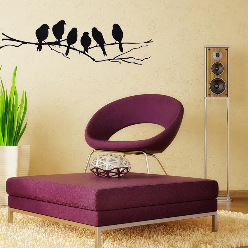 التعادل لير diy ملصقات الحائط صائق إزالة الأسود الطيور شجرة فرع الفن ديكور المنزل جدارية ملصق 85 * 26 سنتيمتر