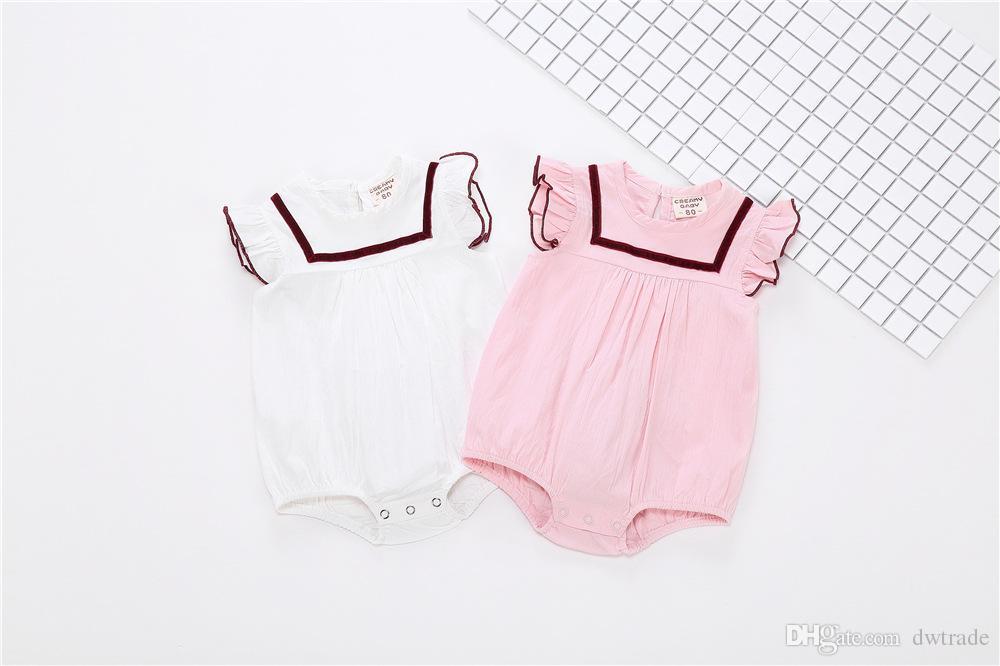 2018 Mezclas de lino de algodón de verano INS ropa de bebé caliente de una sola pieza mameluco sin mangas traje de bebé traje con sombrero 2 colores 3-18M