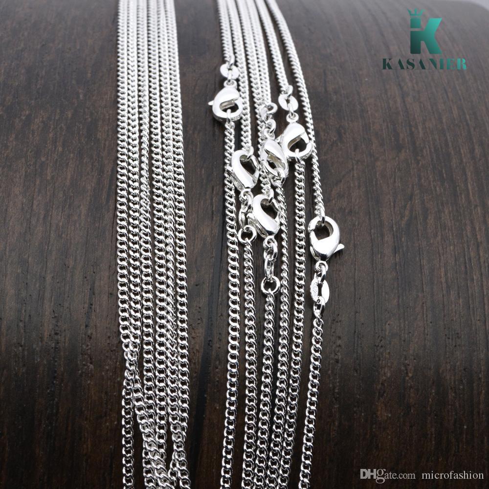 KASANIER 10pcs Heiße Verkauf Silber Halskette with16-24 Zoll silberne Halskette + 925 Hummer-Haken-Tag für Frau Modeschmuck