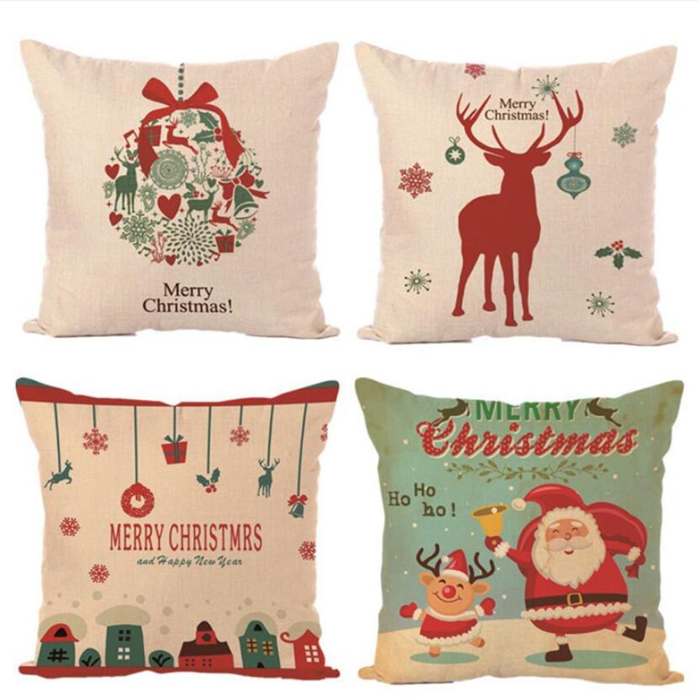 Decoración de navidad Feliz Navidad Cartas Cuadrado Lino Kerst Funda de Almohada Santa Elk Bell Funda de Almohada para Sofá En Casa Decoración de Navidad Y18102609