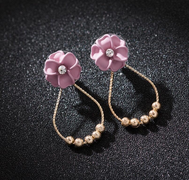 925 gümüş iğne küçük taze ve zarif vahşi küpe küpe kadın kişilik oval pembe çiçekler