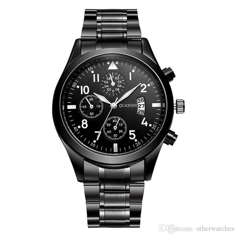 Черный три глаза стальной ремешок часы мужские водонепроницаемый календарь мужские часы Наручные часы