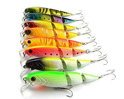 """LENPABY 8 pezzi Multi Jointed Minnow Richiamo di pesca Richiamo duro Bass Bait Swimbait per Bass Trout 10.5cm /4.13""""/14g"""