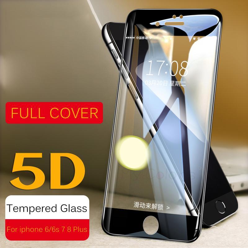 5D Curved Edge Vetro temperato protettivo per iPhone 6 vetro 9H Hardness iPhone 7 vetro 6s 8 Plus Screen Protector HD Full Cover