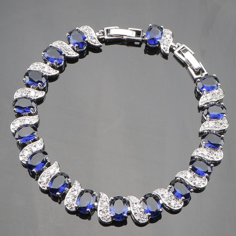 Kare Mavi Zirkon 925 Gümüş Düğün Takı Setleri Kadınlar Taşlar Ile Kolye Kolye Bilezik Küpe Yüzük Set Hediye Kutusu