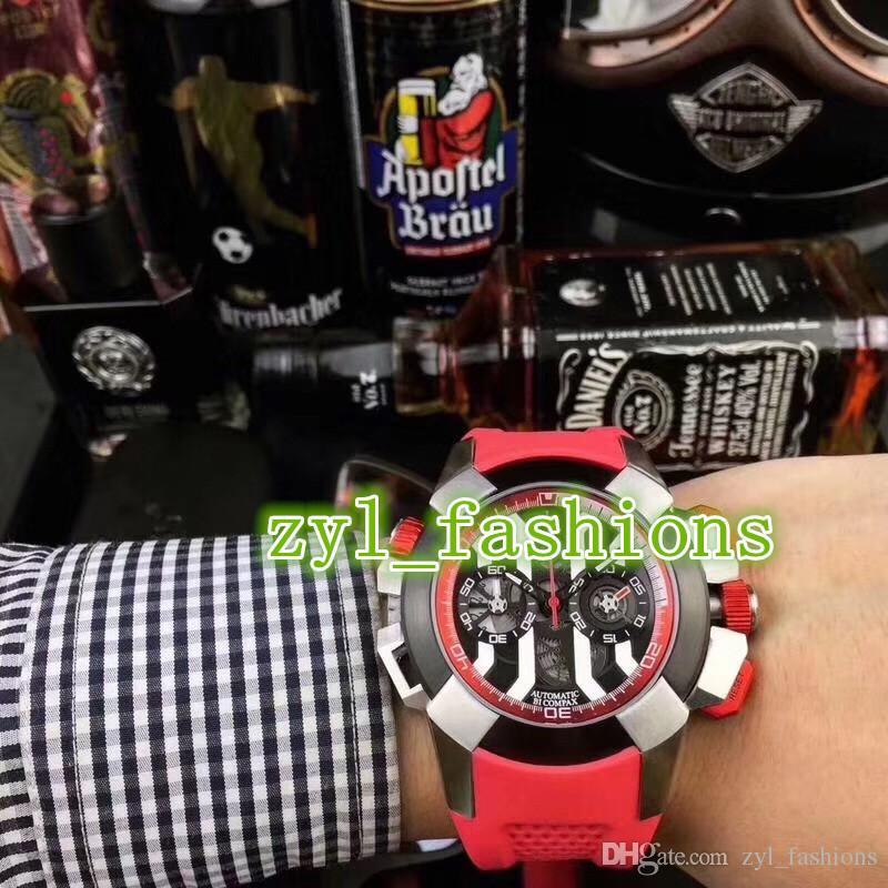 Top moda casual hombres deportes reloj 47 mm gran dial rojo impermeable correa de goma cronógrafo reloj envío gratis