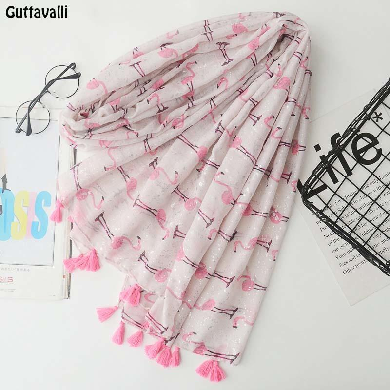 Guttavalli Women Small Flamingos Print Long Tassels Shawl Summer Female Cotton Animals Scarf Bohemia Pink Skinny Chevron Scarves S18101904