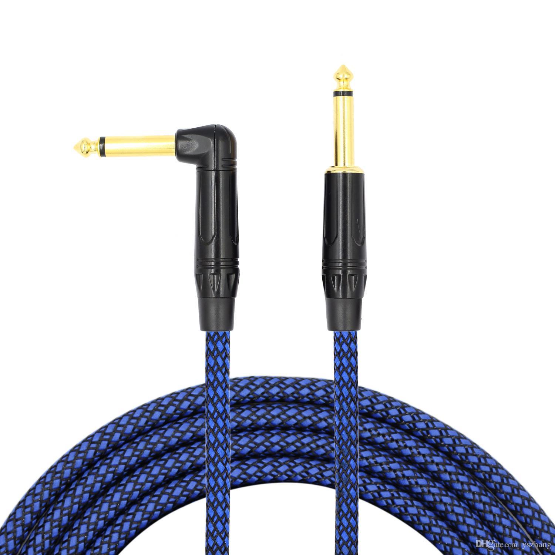 6.35mm Hoparlör Hattı Elektro Gitar Ses Konektörü Kablo Büyük Iki Çekirdekli Mono Erkek Erkek Elektro Gitar Aksesuarları Örgü Hattı