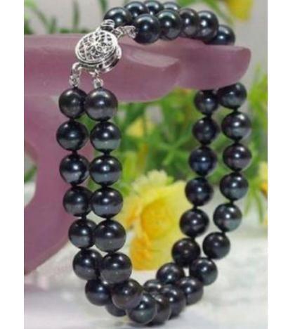 Bracciale con perle nere a 9-10mm di Tahiti a doppio filo 7.5-8inch Bracciale in argento 925 con perline