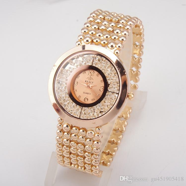 New Top Brand Women Rhinestone Full Steel Gold Bracelet Quartz Watch Women Dress Diamond Watch Ladies Wristwatches