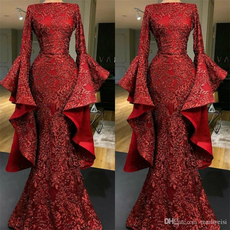 Abiti da sera a sirena in rilievo di lusso rosso scuro maniche lunghe in pizzo con paillettes appliqued abito da promenade Yousef Aljasmi vestito formale