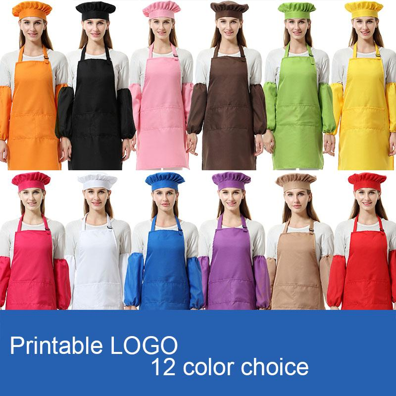 3шт/комплект унисекс взрослый полиэстер кухня талии фартуки для взрослых с SleeveChef головные уборы для покраски приготовления выпечки 12 цветов DHL