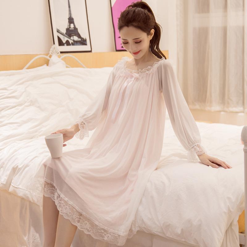 2018 여성 섹시한 Nightdress 봄과 여름 면화 - 긴팔 잠옷 S - XL 공주 레이스 숙녀의 Nightdress 섹시한 속옷