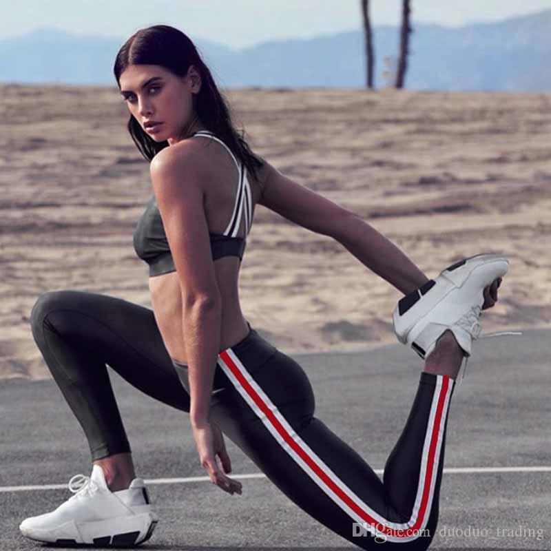 Kadınlar Fitness Spor Takım Elbise Koşu Yoga Eşofman Kadın Tayt Düz Renk Şerit Spor Giyim Spor Sutyen + Yüksekliği Bel Pantolon yumuşak Slim fit