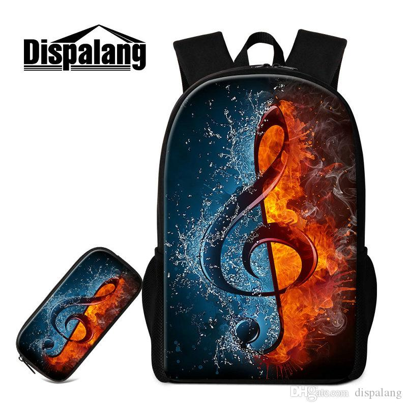 Musical Note Design Children School Bags With Pencil Case Primary Students Backpack Cartoon Schoolbags Bookbags For Kids Mochilas Sac A Dos