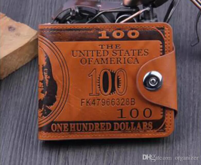 Custom Logo men dollar purse wallet leather designer card holders wallets Money Clip Dollar Bill Leather Card Holder Wallet Purse KKA2503