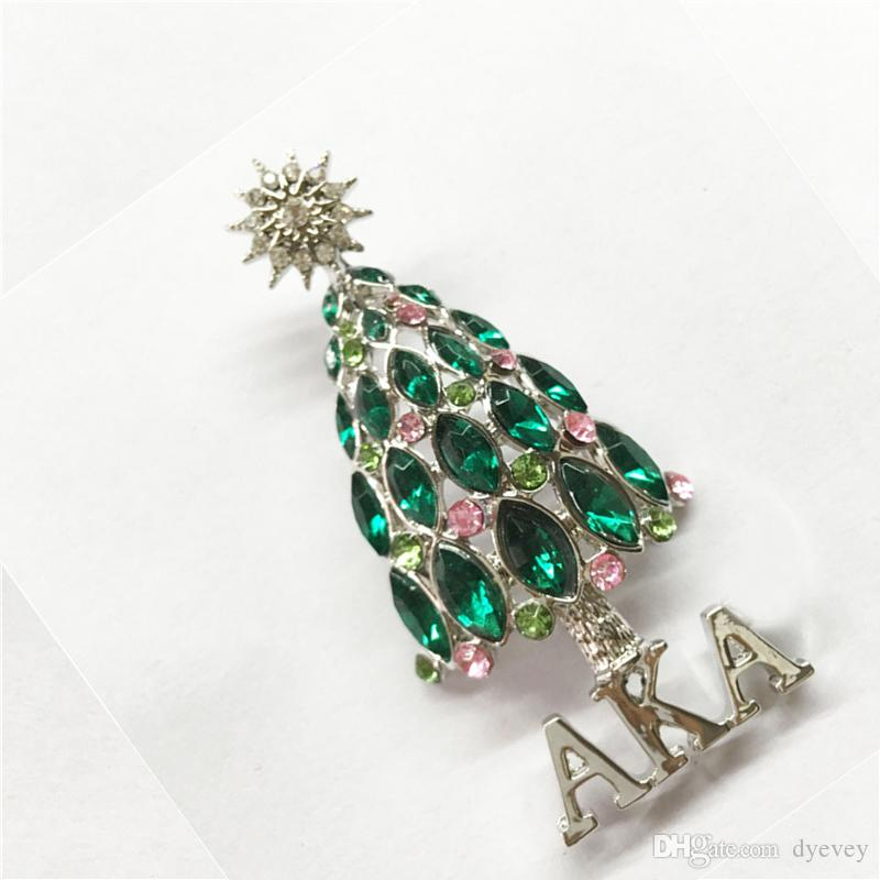 2018 New design Wholesale Colorful Crystal Rhinestone Christmas tree Pin Brooch Christmas gifts Jewelry Fashion Apparel brooches