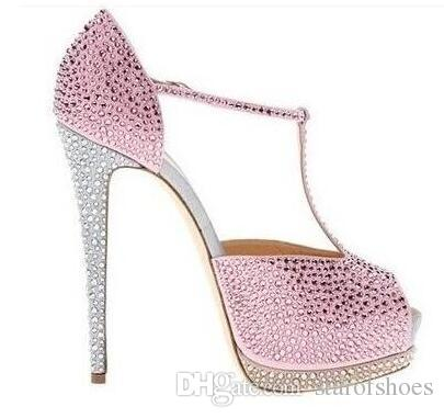 2020 Art und Weise Frauen Peep Toe Kleidschuhe pumpt rosa Strass hohen Absatz aus weichem Leder-Plattform-Hochzeitsschuhe dünnen Absatzpumpen