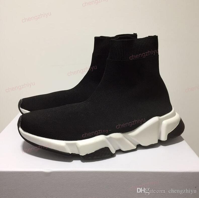 2020 جديد باريس سرعة المدربين حك سوك الحذاء الأصل رجل إمرأة أسود أبيض أحمر الحياكة أحذية رياضية رخيصة أفضل نوعية أحذية عارضة مع صندوق