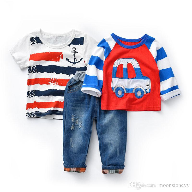 baby boy clothes t shirt long sleeve short sleeve jeans pants for summer and autumn red blue white 2 3 4 5 6 7 years male kids