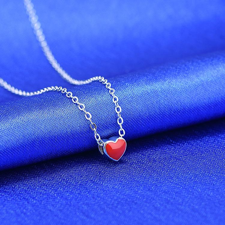 Weinlese-rotes Herzring-Armbandhalskette für Frauen justierbare kleine Herzringansammlung Partei-Art- und Weiseschmucksache-Ring