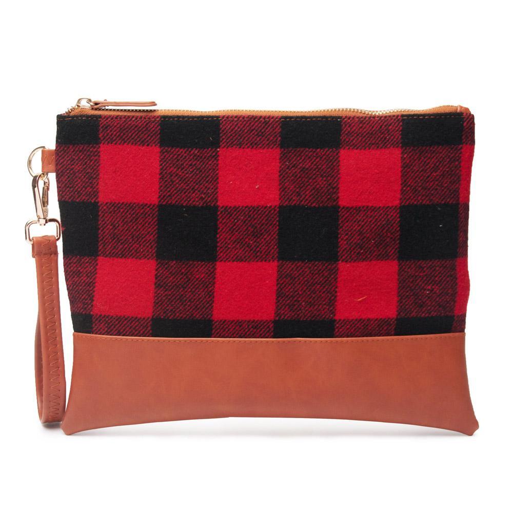 Brand fashion designer Wholesale Blanks Buffalo Red Plaid Wristlet Bag Black And White Plaid Clutch Bag travel toiletry Plaid Pouch DOM1139