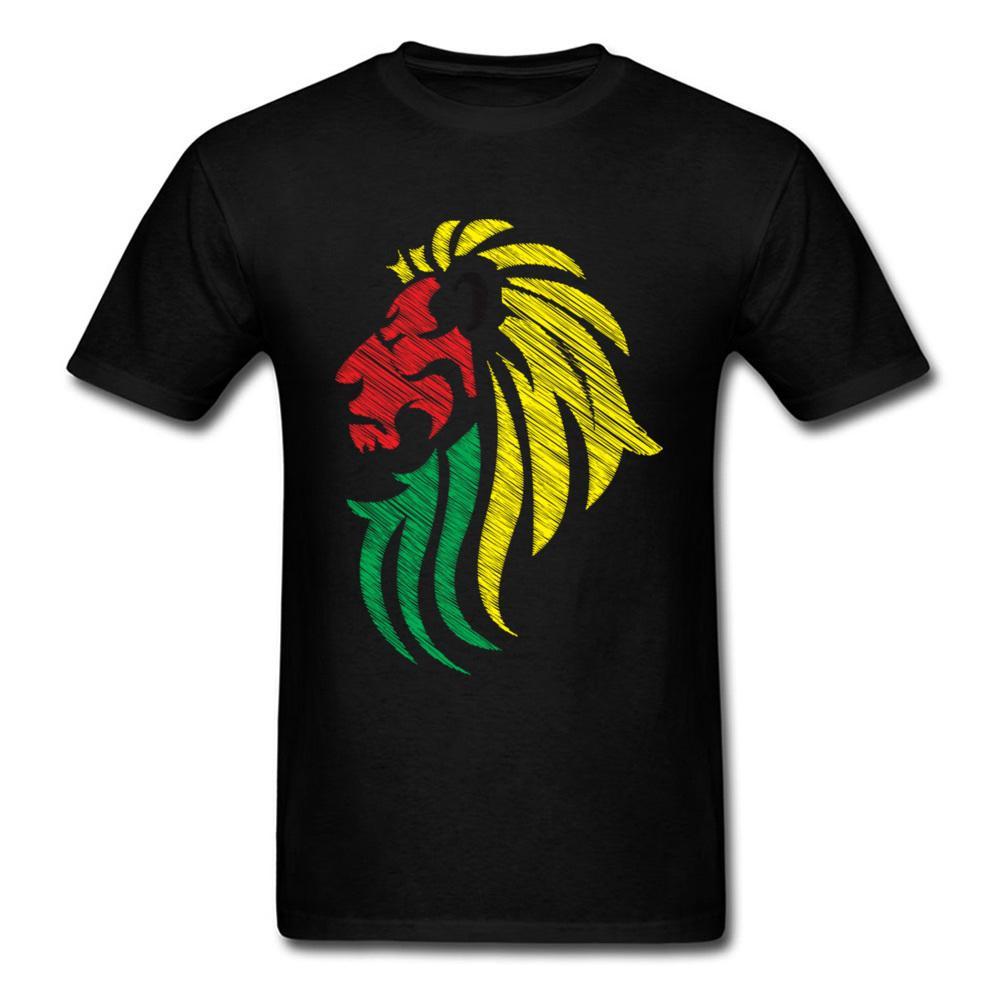 Мода Лев регги музыка флаг цвета мужчины команда футболка мультфильм животных персонализированные хлопок Tee черный топы племенных искусства