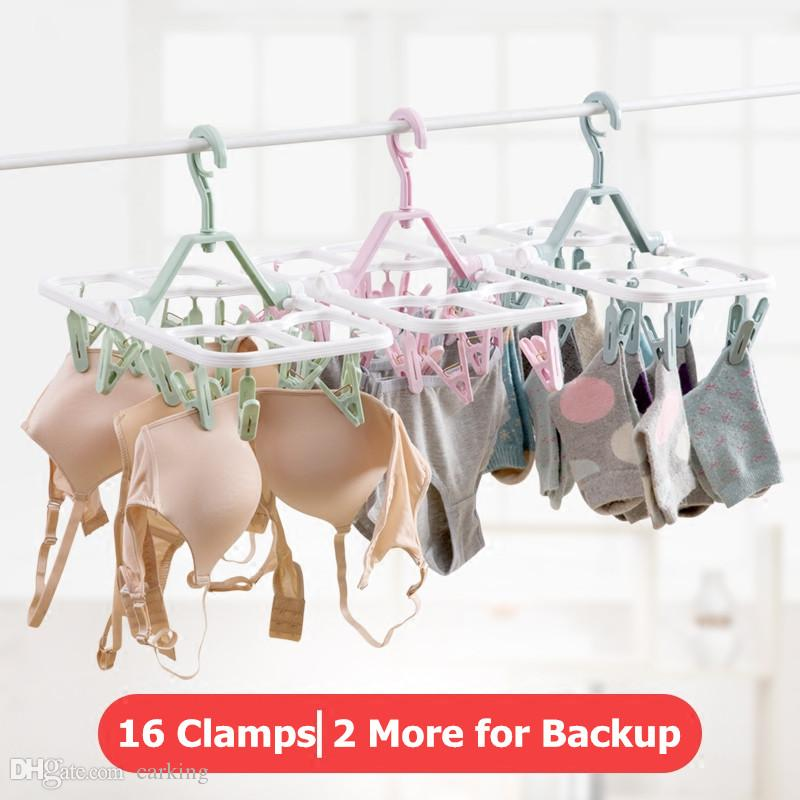 Foldable 16 Clamps Clothes Rack Baby Cloth Clip Socks Hanger Clothes Rack Socks Clothes Shelf Drying Hanger