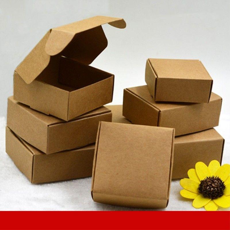Contenitore di caramella di carta Kraft 100pcs, scatola di imballaggio di carta di cartone piccolo, scatola di imballaggio di sapone fatto a mano del regalo di mestiere