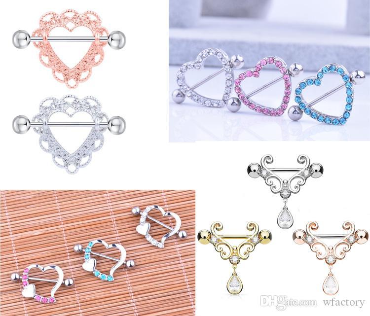 4 Style 316L Surgical Steel Heart-shaped Nipple Rings Fashion Body Piercing Big Zircon Rings Body Jewelry Women Girls body Piercing