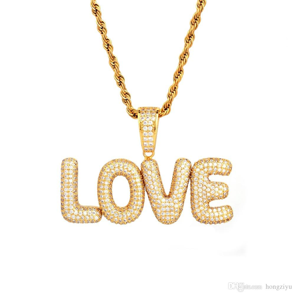 New Men's Custom Name Small Bubble Letters Necklaces & Pendant Ice Out Cubic Zircon Hip Hop Jewelry Rope Chain Two Color