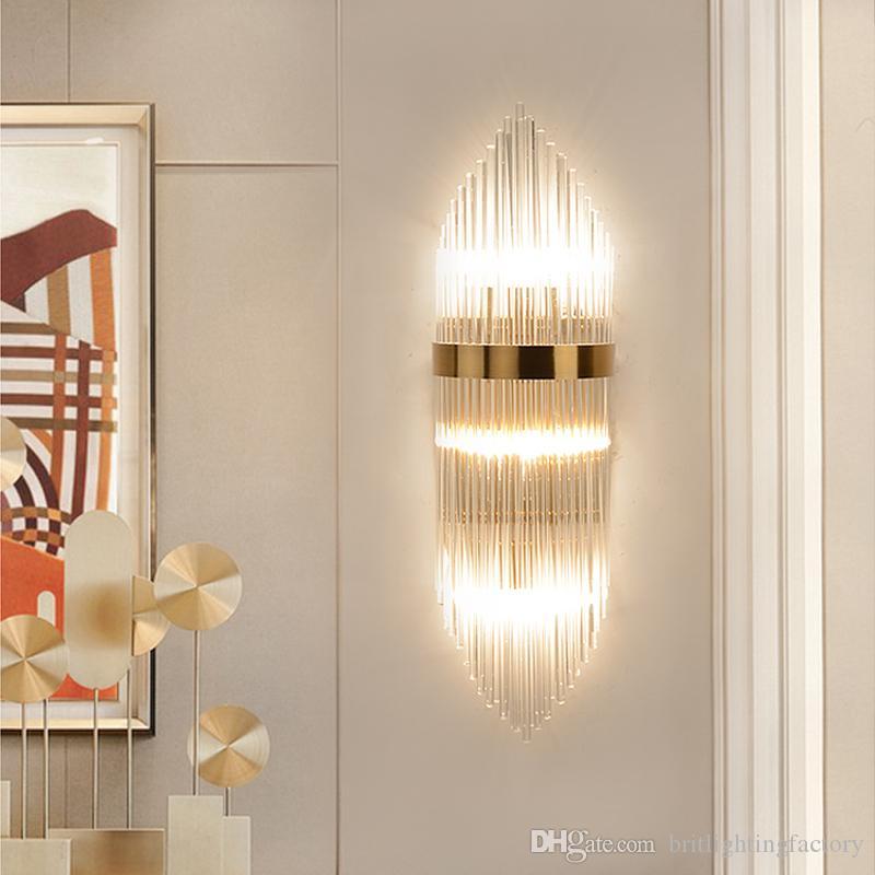 İskandinav Postmodern Kristal Cam Çubuk Duvar Lambası Otel Yatak Odası Banyo Lüks Altın Duvar Işıkları Salon Arkaplan Yaratıcı led Duvar Lambası