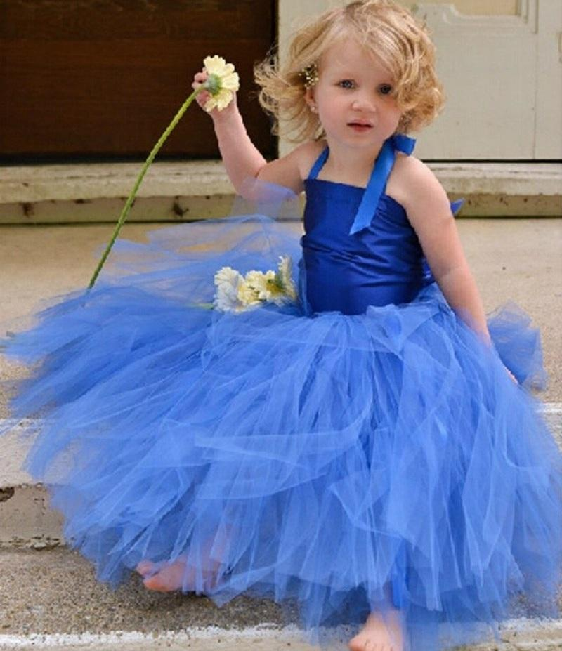 New Pincess Pageant Blue Flower Girl Dress Prom Gown Kids Dress Occasioni speciali Abiti per bambini Performance GHTZ395