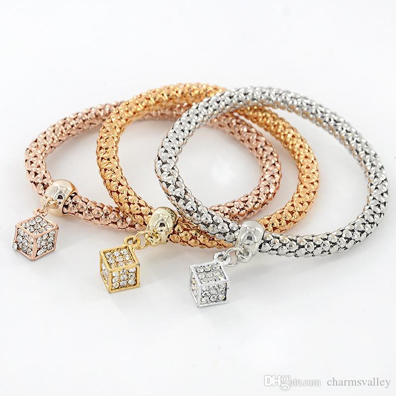 3 unids / set Completo Rhinestones Dice Charms Pulseras de Oro de Moda de Plata Rosa Elástico Popcorn Link Chain Brazalete Pulsera de Joyería Para Las Mujeres