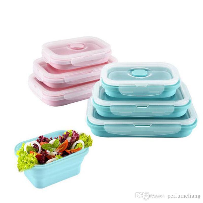 접이식 실리콘 도시락 세트 과일 음식 피크닉 스토리지 박스 컨테이너 주방 전자 렌지 벤토 QW8420