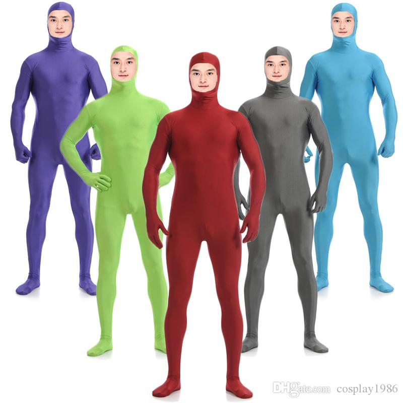 Adult Men Kids Lycra Spandex Cosplay Halloween Party Show Open Face Zentai Jumpsuit Bodysuit Suit Unitard Plugsuit