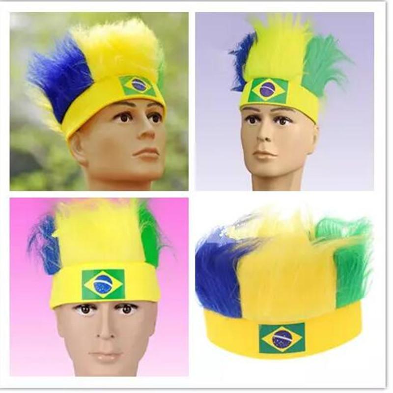 국가 팬 가발 국기 2018 러시아 월드컵 32 국가 국기 축구 축구 다채로운 팬 가발 모자 스포츠 기념품 의상 축제