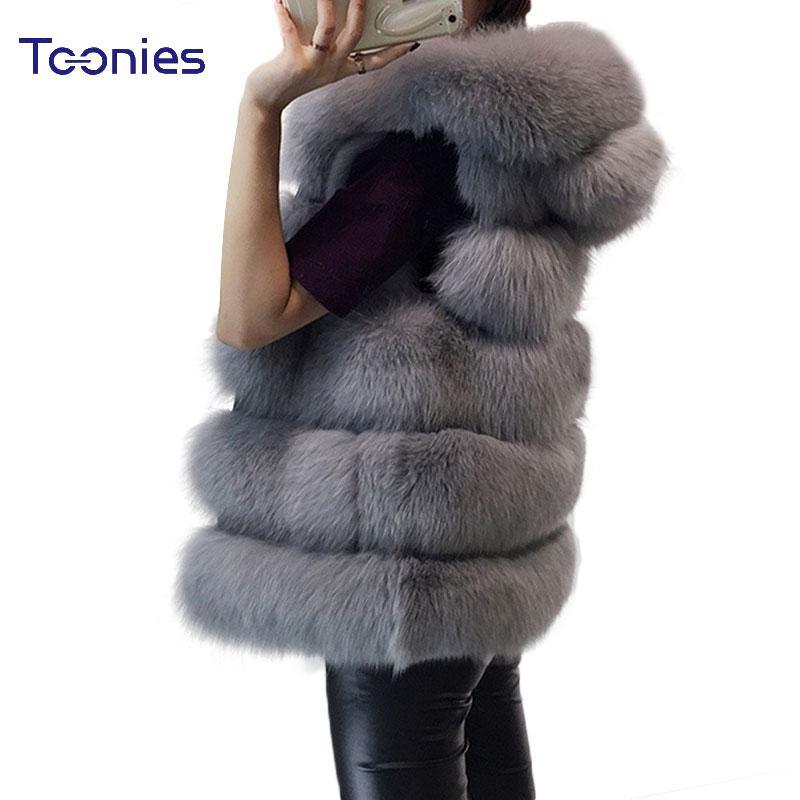 das mulheres Vest com capuz Cap Fur 2017 Moda Luxo Grosso Quente Vest Faux cabelo para baixo do revestimento do revestimento sólido Pele Cor Coletes mulheres Coats